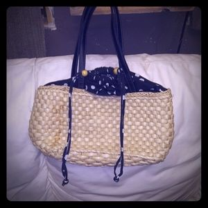 adorable wicker bag with polkadotcloth reverseable